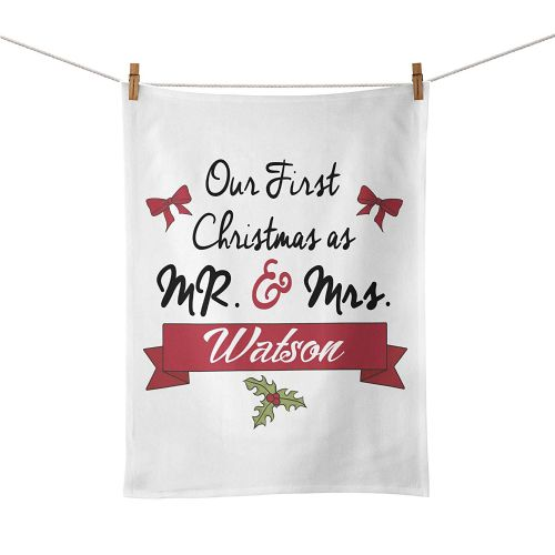 Personalised 'Our First Christmas As Mr & Mrs' Novelty Tea Towel